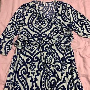 Pink Blush Damask wrap maternity dress